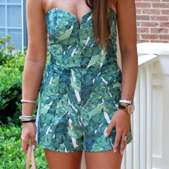 167d593095a1 H&M Tops   Leaves Leaf Print Tube Top Romper Super Cute   Poshmark